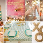 gold pink aqua bright color wedding inspiration